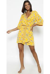 Robe Floral Com Amarração- Amarela & Marromfruit De La Passion