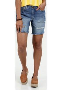 154c4bb72 ... Bermuda Feminino Jeans Destroyed Cintura Média Marisa