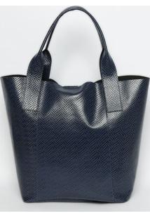 Bolsa Shopper Em Couro Croco- Azul Marinho- 34,8X38,Griffazzi