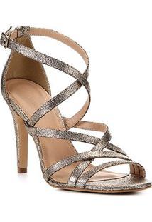 Sandália Shoestock Salto Fino Metalizada Tiras Feminina - Feminino-Dourado
