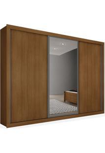 Armário 03 Portas De Correr 2,46 Espelho Central, Imbuia, Premium Plus Ii