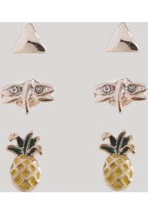 Kit De 3 Brincos Femininos Folheados Com Abacaxi Dourado