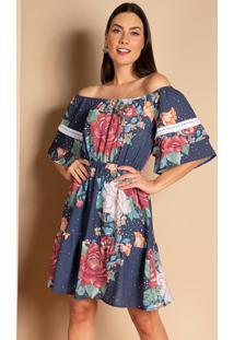 Vestido Floral Azul Ombro A Ombro Com Babados