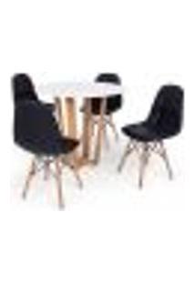 Conjunto Mesa De Jantar Lara 90Cm Branca Com 4 Cadeiras Charles Eames Botonê - Preta