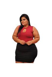 Short Saia Summer Body Plus Size Babado Preto