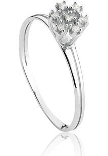 Anel De Ouro Branco 18K Chuveiro Com Diamante