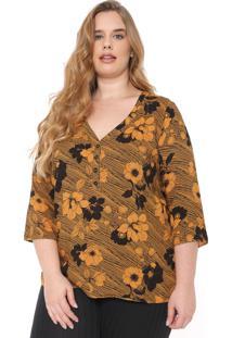 Blusa Cativa Plus Floral Caramelo/Preta