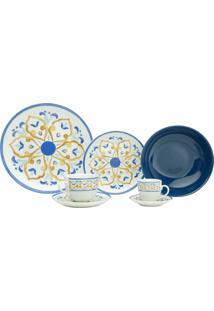 Aparelho De Jantar Wolff Super White Mayolica Blue 42 Pçs Porcelana