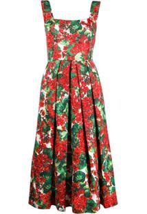Dolce & Gabbana Vestido Com Estampa Floral - Vermelho