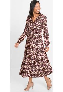 Vestido Com Cinto E Decote Transpassado Marrom