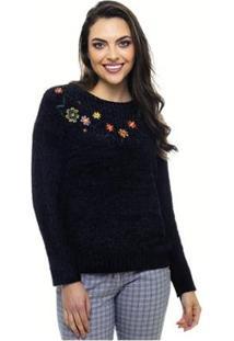 Suéter Trico Sob Em Chenille Bordado De Flor Feminina - Feminino-Preto