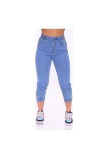 Calça Jogger Feminina Fec Fashion Jeans Azul Claro