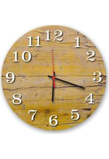 Relógio De Parede Decorativo Madeira Pátina Amarelo 35Cm Médio