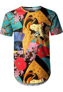 Camiseta Longline Over Fame Gueixa Multicolorido