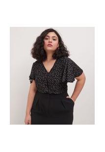 Blusa Gola V Estampa Poá Com Mangas Amplas Curve & Plus Size | Ashua Curve E Plus Size | Preto | Eg