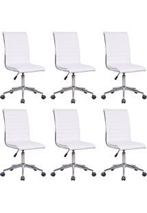 Conjunto Com 6 Cadeiras De Escritório Secretária Giratórias Marilyn Branco