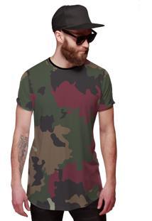 Camiseta Di Nuevo Longline Camuflada Colorida Exército Brasileiro Preto