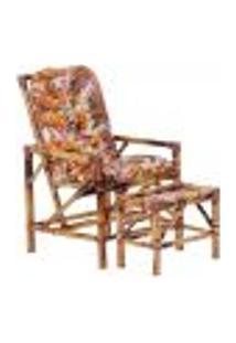 Conjunto Mesa E Cadeira De Bambu Cancun Para Área Edicula Jardim G29