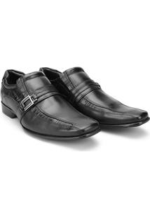 Sapato Social Couro Mariner Bico Quadrado Smart Masculino - Masculino-Preto