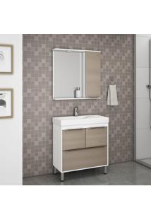 Gabinete Banheiro Branco Brilho Castanho Tannat Lilies