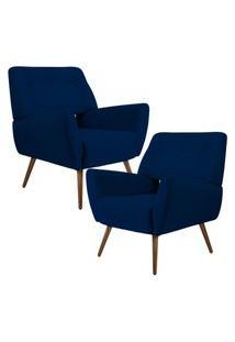 Kit 02 Poltronas Decorativas Fixa Pés Palito Melli Veludo Azul Marinho B-287 - Lyam Decor