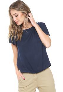 Blusa Cantão Lisa Azul-Marinho