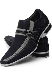 Sapato Social Couro Hbs Bico Longo Luxo Stilo Italiano Azul-Marinho
