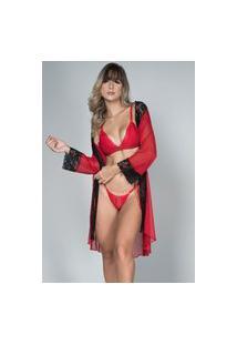 Robe Feminino Tule Com Renda E Conjunto Lingerie Maine Bella Fiore Modas Vermelho