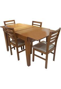 Mesa Extensível Estelita Com 4 Cadeiras Sued Bege