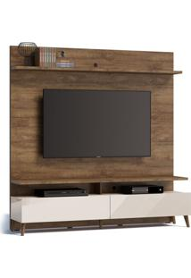 Estante Para Home Theater E Tv Até 60 Polegadas Boss Madeira I Touch E Off White