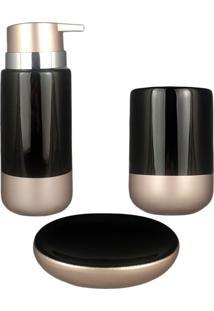 Kit Banheiro Lavabo Saboneteira Gold Preto Acessório Em Porcelana Porta Escova Sabonete 3Pç