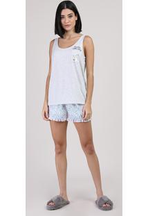 Pijama Feminino Unicórnio Regata Cinza Mescla Claro