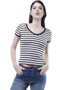 Blusa Decote V Listrada Pop Me Feminina - Feminino-Mescla