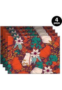 Jogo Americano Mdecore Floral 40X28Cm Vermelho 4Pçs