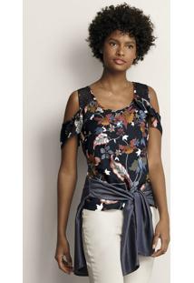 Blusa Feminina Em Tecido Creponado De Viscose Open Shoulder Estampada