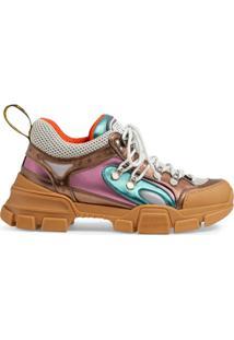 ... Gucci Tênis  Flashtrek  De Couro - Marrom 7360e68318a