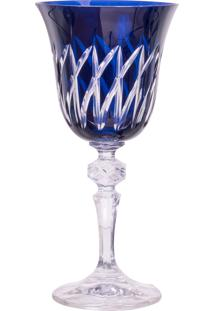 Taça De Cristal Lodz Para Vinho De 170 Ml – Azul