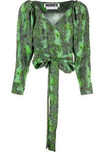 Rotate Snake Print Wrap-Tie Blouse - Verde