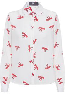 Camisa Feminina Básica Estampa - Off White