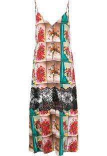 Stella Mccartney Vestido Longo De Seda Com Renda - Neutro