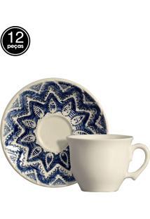 Conjunto 6 Xícaras De Chá Bombain Branco Scalla