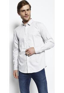 Camisa Slim Geomã©Trica - Off White & Preta- M. Offim. Officer
