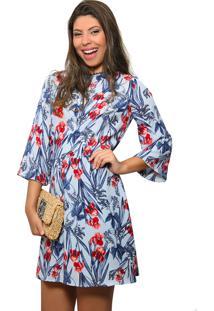 33dcb7a71 ... Vestido It Marie Curto Crepe Estampa Floral Azul