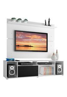 Rack Madesa Cancun E Painel Para Tv Até 65 Polegadas - Branco/Branco/Preto Branco