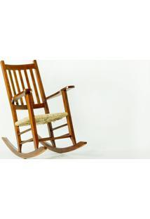 Cadeira De Balanço Palha Pestre Verniz Imbuia - 64X112X110 Cm