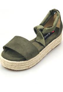 Avarca Espadrille Love Shoes Anabela Plataforma Corda Amarração Militar
