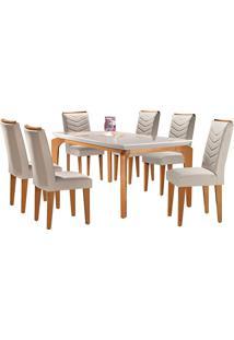 Conjunto De Mesa Para Sala De Jantar Com 6 Cadeiras Mel-Rufato - Veludo Creme / Off White / Imbuia