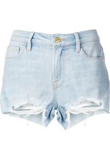 Frame Bermuda Jeans Desgastada - Azul