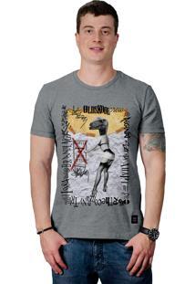 Camiseta Perplex Pin-Up Dinosaur Grafite