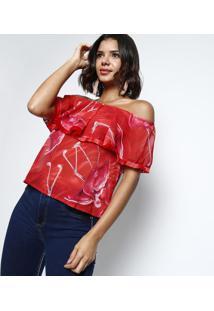 Blusa Ciganinha Com Franjas- Vermelha & Pinkcharry